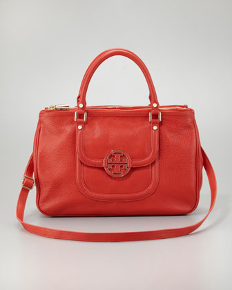 Amanda Double-Zip Tote Bag, Flame Red