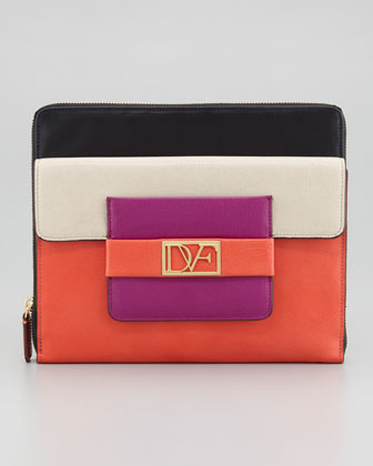 Metro Leather iPad Case, Sand/Gardenia/Coral