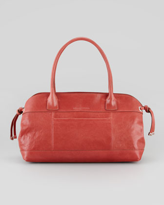 Icon East-West Leather Tote Bag, Poppy Red