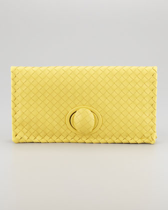 Full-Flap Turnlock Clutch Bag, Light Yellow
