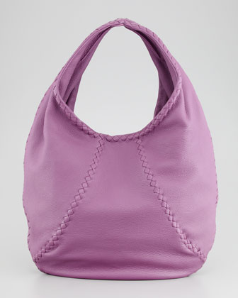 Medium Open Leather Shoulder Hobo Bag, Purple