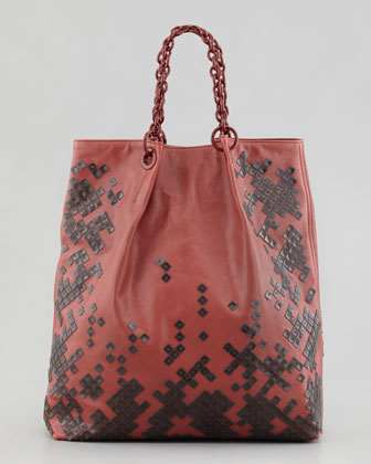 Mosaic-Trim North-South Tote Bag, Dark Rose