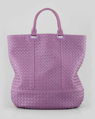 Large Woven North-South Tote Bag, Purple
