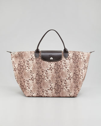 Le Pliage Python Tote Bag, Clay