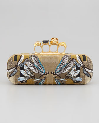 Dragonfly-Jacquard Knuckle Box Clutch Bag