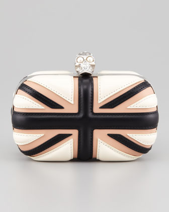 Britannia Skull-Clasp Clutch Bag, Bone/Blush/Black