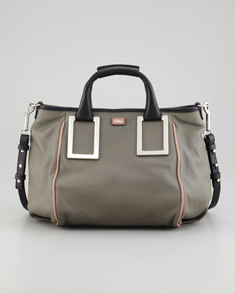 Ethel Medium Satchel Bag, Gray
