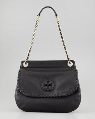 Marion Leather Saddle Bag, Black