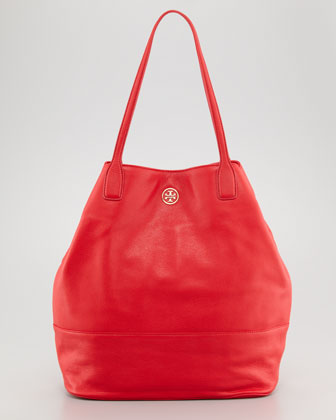 Michelle Pebbled Leather Tote Bag, Red