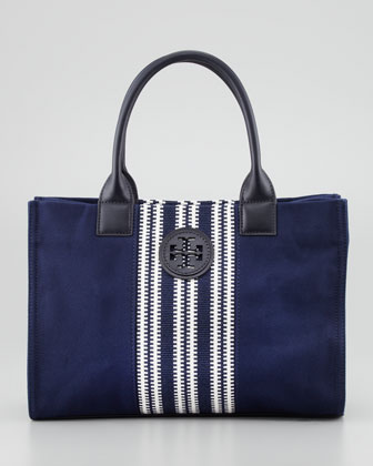 Mini Ella Striped Tote Bag, Navy