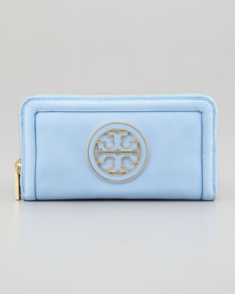 Amanda Continental Zip Wallet, Light Blue