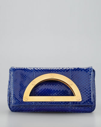 Medium Anaconda Fold-Over Clutch Bag, Cobalt Blue