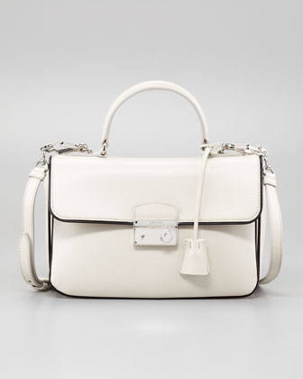 Medium Flap Bag, White/Black