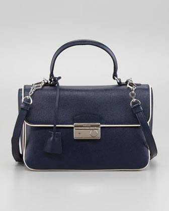 Medium Flap Bag, Navy/White