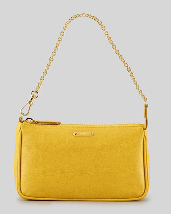 Mini Chain-Strap Pochette Bag, Chantilly Yellow