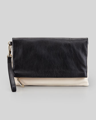 Morgan Calfskin Wristlet Clutch Bag, Black/Bone