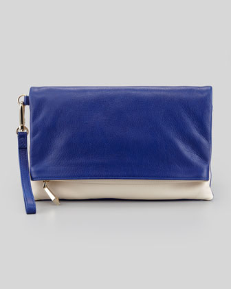 Morgan Calfskin Wristlet Clutch Bag, Cobalt/Bone