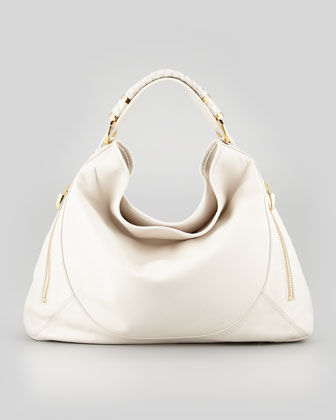 Joni Leather Hobo Bag, Beige