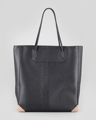 Prisma Pebbled Leather Tote Bag, Black