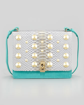 Parker Python-Embossed Studded Shoulder Bag, Teal Multi