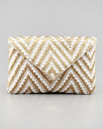 Bella Zigzag Raffia Envelope Clutch Bag, Gold
