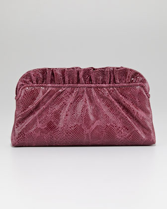 Georgie Python-Embossed Ruffle-Top Clutch Bag