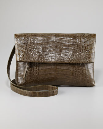 Crocodile Messenger Bag Fold-Over Clutch Bag