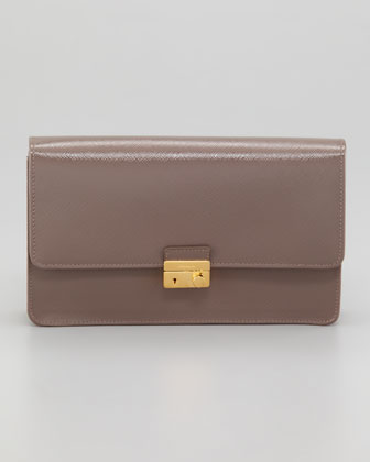 Saffiano Vernice Lock Case Clutch Bag