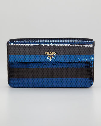Sequined-Striped Clutch Bag