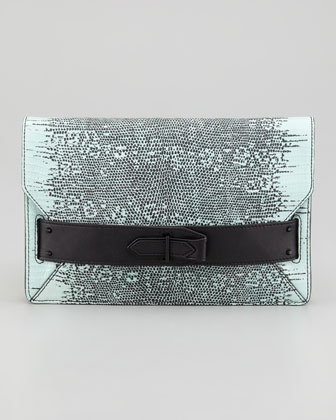Lizard-Print Folio Clutch Bag, Pistachio