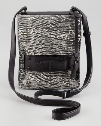 Lizard Embossed Folio Crossbody Bag, Black/White
