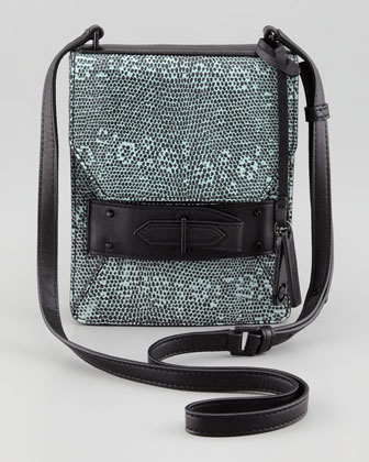 Lizard Embossed Folio Crossbody Bag, Blue