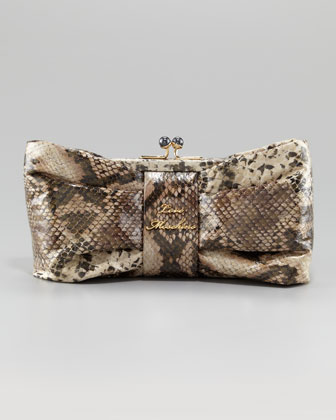Bow Frame Clutch Bag, Python
