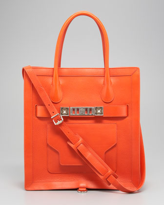 Large Leather Tote Bag, Orange