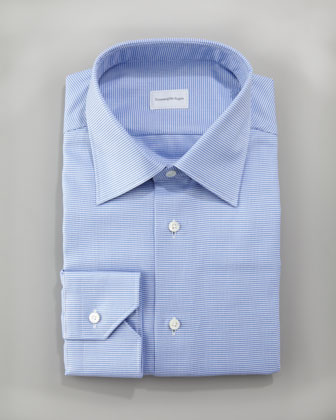 Slim-Fit Micro-Check Dress Shirt