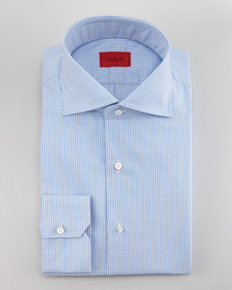 Mini Check Twill Shirt, Light Blue