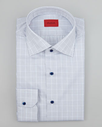Mini Graph-Check Dress Shirt, Blue