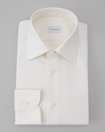 Twill Dress Shirt, Cream