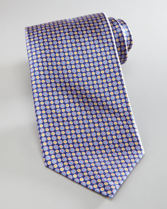 Circle Flower Tie, Navy