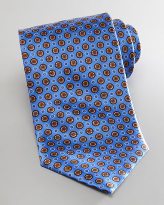 Small Medallion Neat Tie, Blue