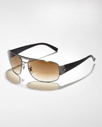 High Street Aviator Sunglasses, Gunmetal/Brown