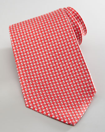 Linked Varas-Print Silk Tie, Red
