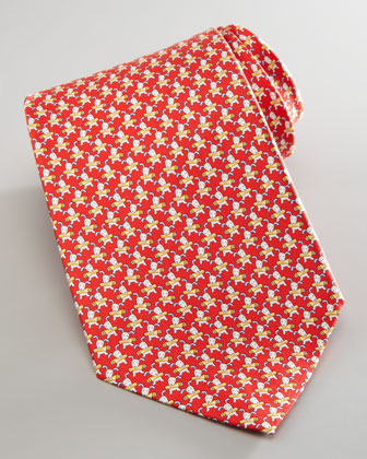 Dog-Print Silk Tie, Red