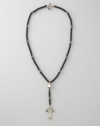 Medium Onyx Bead Rosary Necklace