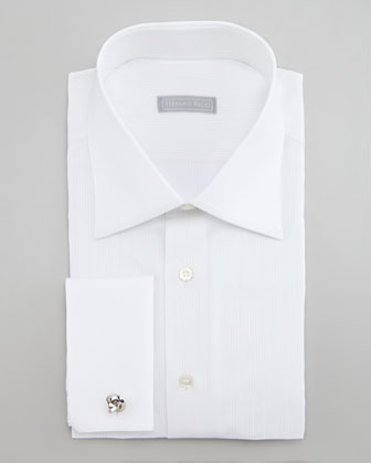 Tonal Piped Dress Shirt, White