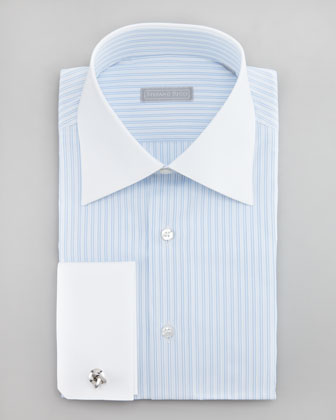 Striped Dots Dress Shirt, Blue