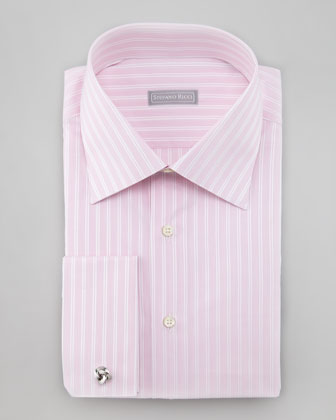 Mixed Stripe French-Cuff Shirt, Pink