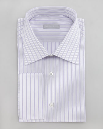 Striped Dress Shirt, White/Purple