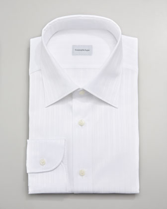 Texture-Stripe Dress Shirt, White