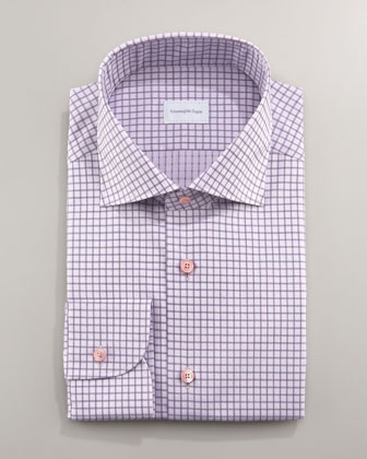 Tonal-Check Dress Shirt, Purple